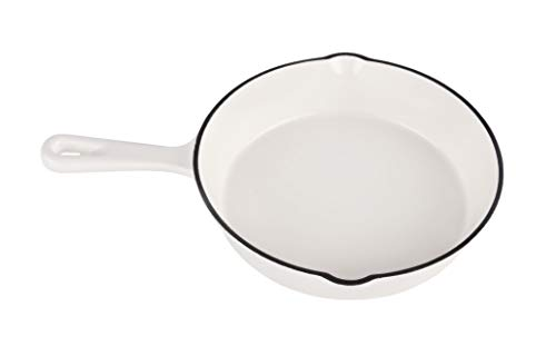 INSPIRED HOME CAST IRON SKILLET 8', PURE WHITE