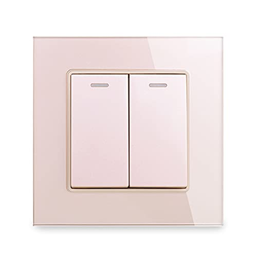 HLY-CASE Panel de Vidrio 2 Gang 2 Way ON/Off Pass a través del Interruptor de la luz de la Pared de la Escalera Rocker Switched 16A C1 Series Diseño Elegante (Color : Gold)