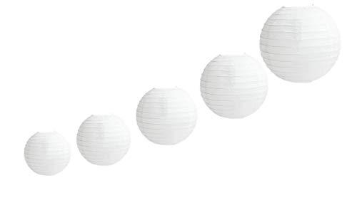 "Linternas de papel de 5 PCS, linterna redonda de papel blanco con nervaduras de alambre, pantallas de lámparas blancas de diferentes tamaños, 4""6"" 8""10"" 12"""