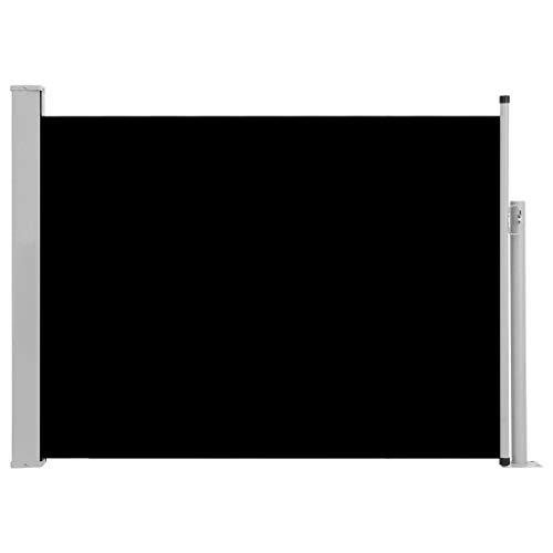 Tidyard Ausziehbare Seitenmarkise Gartensichtschutz Sichtschutz Windschutz Sonnenschutz Terrassenwindschutz Balkonsichtschutz für Garten Balkon Terrasse, 120×500 cm Schwarz