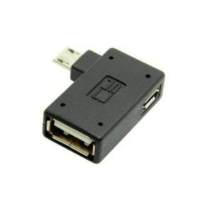 Cablecc Adattatore micro USB 2.0Host OTG con alimentazione USB, angolato di 90° a sinistra, per cellulari e tablet Galaxy S3,S4,S5,Note2,Note3