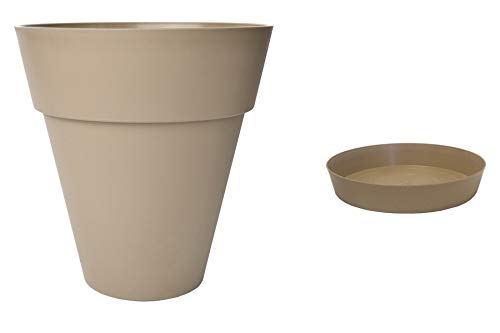 JAIME Pot DE Fleurs + Soucoupe CHAPELU-TAUPE-Ø35