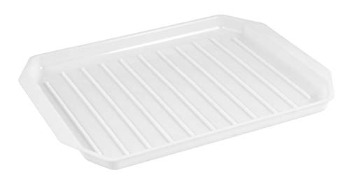 HOMESHOPA Microwave Bacon Heating Rack Plate for Meat Cooking Breakfast Meat Ribbed for Fat Drain Defrosting Meals Frozen Food