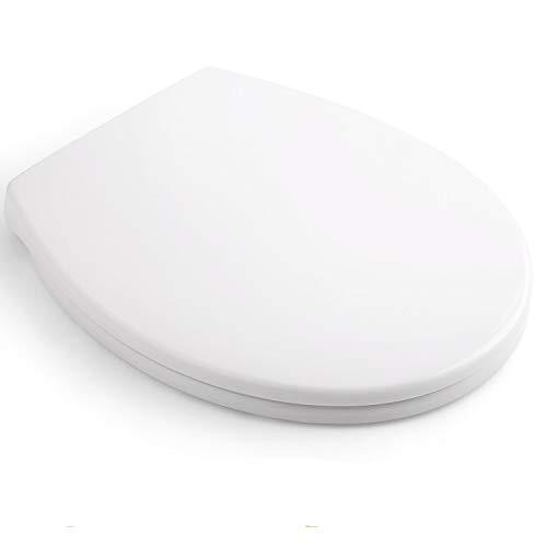 WC Sitz, HIMIMI Toilettendeckel Oval Klodeckel mit Quick-Release-Funktion, Absenkautomatik und Justierbaren Edelstahlscharnier, Antibakterielle Klobrille O-Form PP Toilettensitz (440x375x54mm)