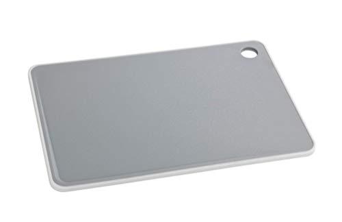 WENKO 53052100 - Tabla de cortar básica, antibacteriana, polipropileno, 36 x 26 x 0,9 cm, color gris claro