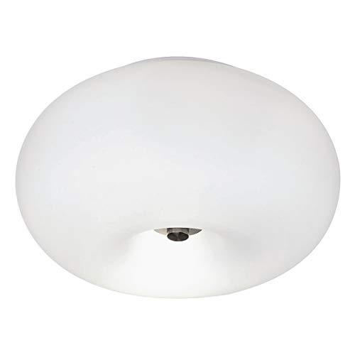 EGLO Lampe de Plafond Optica, Plafonnier enTextile à 2 Flammes, Luminaire de Plafond, Matériau : Acier, Couleur : Nickel Mat, Verre : Opale Blanc Mat, Douille : E27, Ø : 35 cm