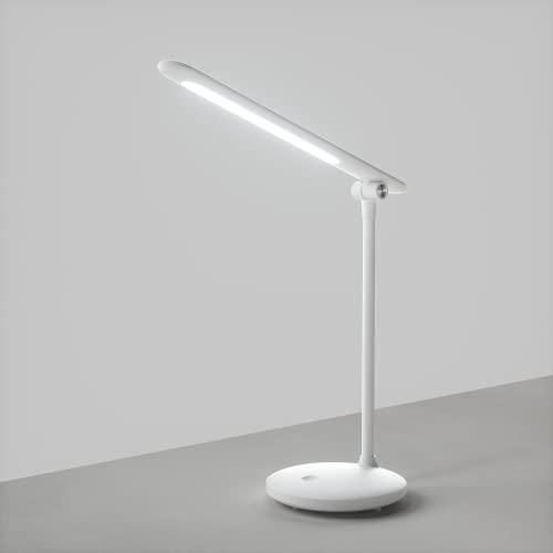 Lampada da Scrivania a LED Senza fili, ATSUI Lampada da Tavolo Protezione Agli Occhi, Touch Control, Regolazione Luminosità ILLIMITATA, 3 Colori di Luce, Funzione Memoria, Risparmio Energetico, Bianco