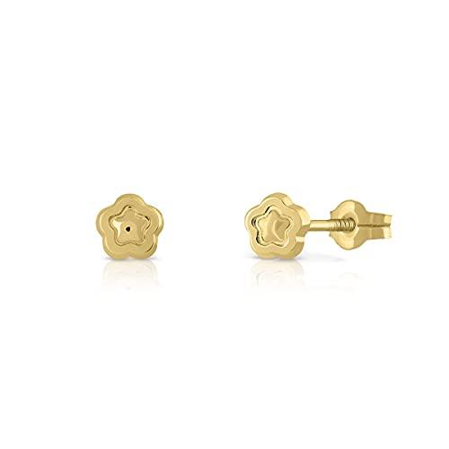 Pendientes Oro de Ley Certificado. Niña/Mujer. Diseño Flor. Cierre de presión. Medida 5 mm. (1-1669)