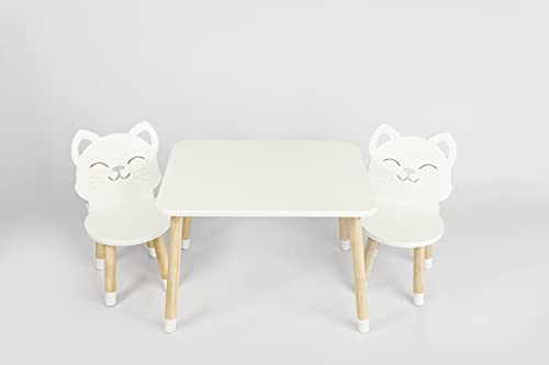 DEKORMANDA - Mesa infantil con sillas - Muebles para habitación infantil - Una silla en forma de gato para pequeños amantes de los animales - Mesa blanca para niños con 2 sillas de aprendizaje