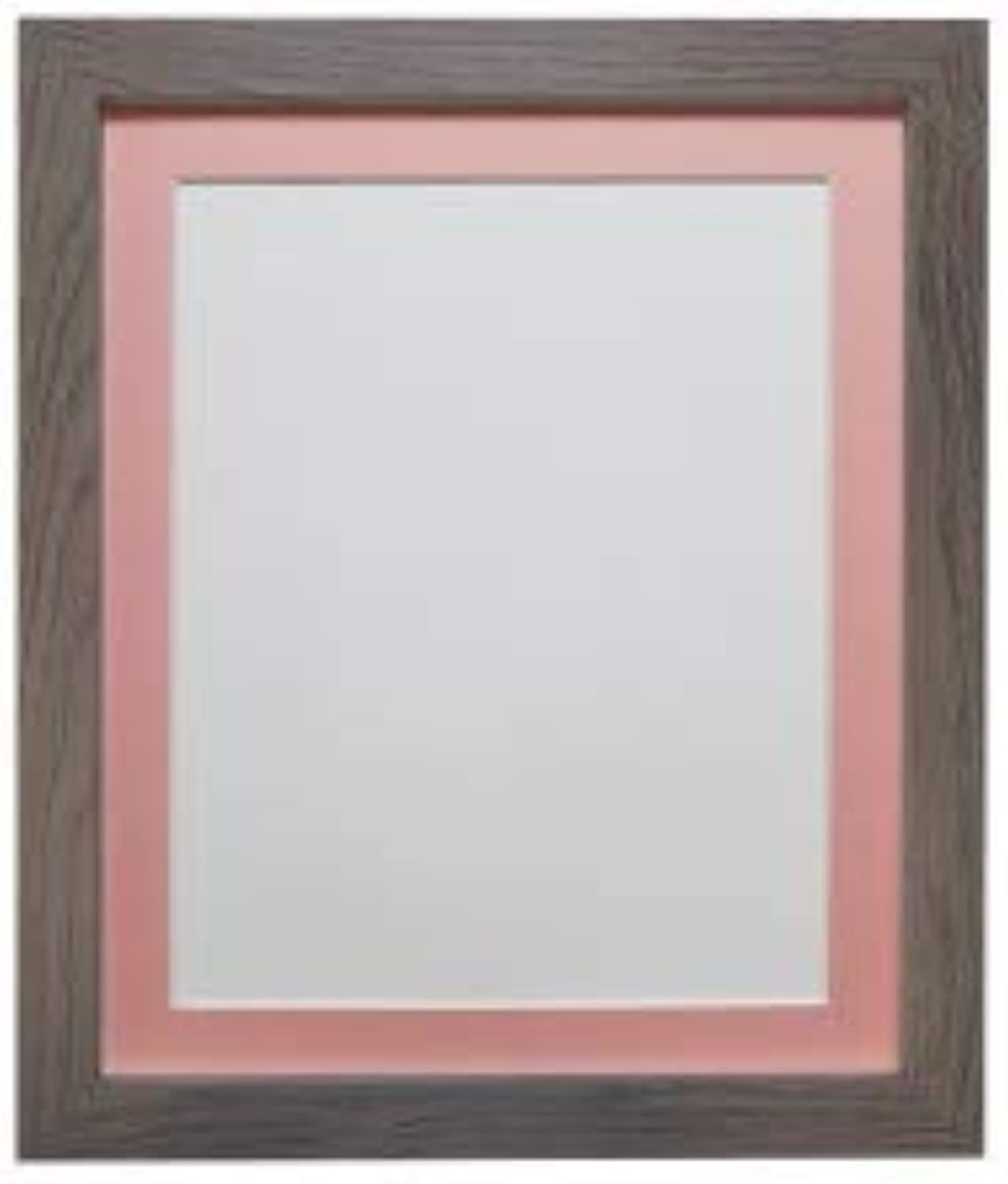 FRAMES BY POST H7 Picture Photo Frame, Plastic Glass, Dark Grey with Pink Mount, 40 x 30 cm Image Size 12 x 10 Inch