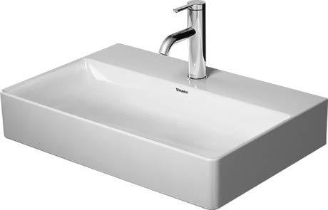 Lavabo Duravit DuraSquare, Lavabo para Muebles Compact 60x40 cm, sin Agujero para Grifo, sin rebosadero, con Banco con Agujero para Grifo, Color: Blanco - 2356600070