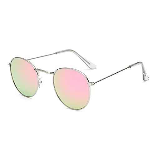 Gafas de sol unisex unisex retro con ojos de gato de metal espejado y planas.