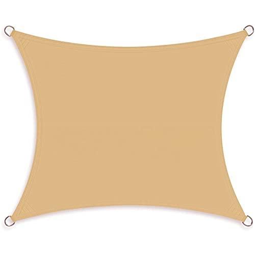 CHBIN Vela De Sombra 5x7m Toldo Suspendido Protección Rayos UV 95% Resistente a la Intemperie per Giardino Terrazzo Balcone, Amarillo
