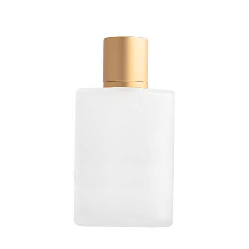 Enslz Milchglas-Flasche, Parfüm, 100 ml, Zerstäuber, nachfüllbar, leere Parfümflasche für Damen und Herren (Gold)
