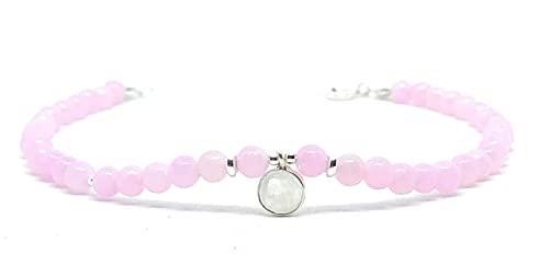 Cavigliera in pietra naturale Quarzo rosa Angelite e ciondolo in pietra di luna in argento sterling regolabile da 23 mm a 26 mm