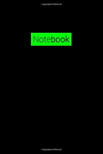Notebook: Simple Bright Green Journal Notebook (6x9 120 Ruled Pages Matte Black Cover)