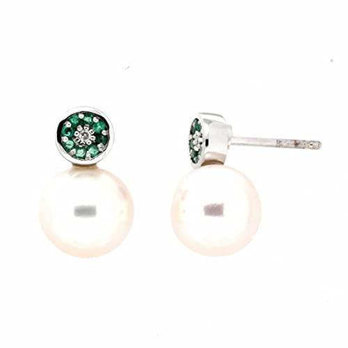 Pendientes diamantes esmeraldas perla oro blanco 18K [35-12281-E-P]