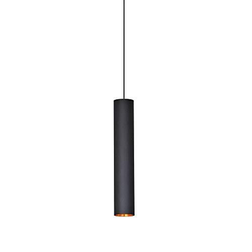 Lámpara de techo de cilindro creativo, lámpara colgante LED, tubo de luz largo, lámparas colgantes de hierro forjado para escaleras de tubo largo Comedor dormitorio (30CM)