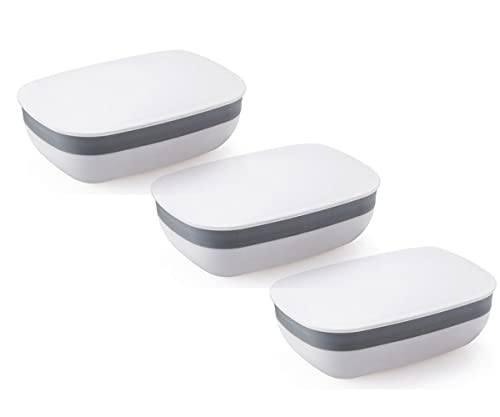 Jieddey Zeepbakje, 2 stuks zeepbakjes met deksel, lekvrije zeepzakjes, plastic zeepbakje voor camping, thuis, badkamer en buiten
