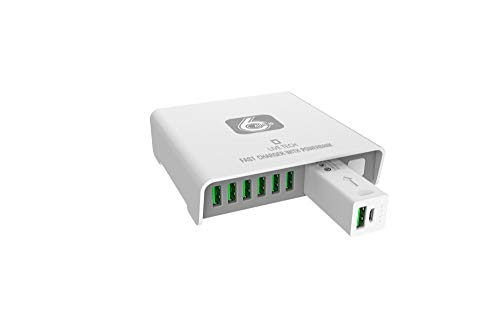 Live Tech Power Charge with 6 USB Ports,1 Portable Powerbank 40W Fast Turbo Charger Adapter Station Hub (White)