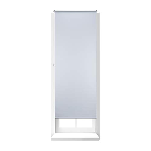 Relaxdays Thermal Blackout Blinds, Heat Protection, Side-Pull Roller Shades, No Drilling, 80x210cm, White