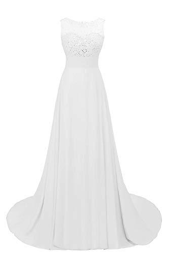 MisShow Damen Elegant Chiffon Abschlussball Kleid Ballkleid mit Schleppe lang weiß 38