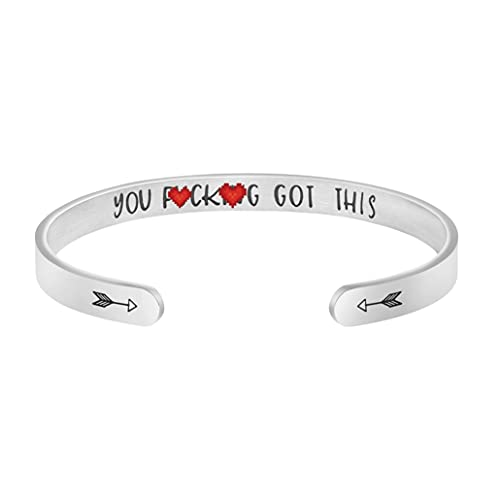 Joycuff Bangle Bracelets for Women Birthday Gifts for Her Silver Cuff Bangle Personalized Mantra Inspirational Daily Reminder (You got this)