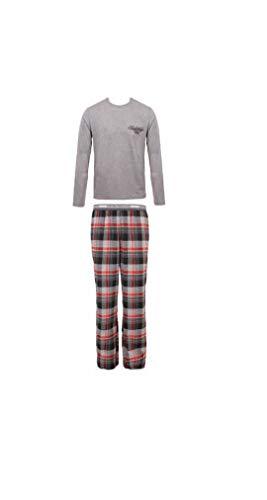 Emporio Armani Herren Schlafanzug aus Baumwolle, Flanell, grau, mit Hose, Grau S