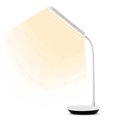 Ohiyoo LED Schreibtischlampe, LED Dimmbare Nachttischlampe mit Touch-Steuerung Memory-Funktion USB-Anschluss, 5W Tischlampe mit 3 Helligkeitsstufen für Büro, Lesen, Studieren, Weiß.