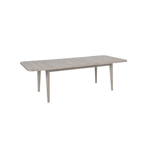 Greemotion Ausziehtisch Maui aus Massivholz-Gartentisch rechteckig zum ausziehen-Esstisch grau für Garten, Terrasse & Balkon-Holz Tisch Akazie massiv, 18,6 x 10,3 x 1,7 cm
