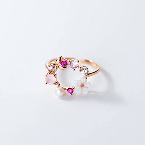 BEWITCHYU Anillo de Plata S925, Pulsera de Diamantes, Conchas, Flores Y Perlas para Mujeranillo de plata s925, Apertura regulable