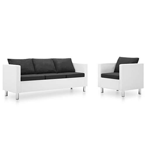 FAMIROSA Set de sofás de 2 Piezas Cuero sintético Blanco y Gris oscuro-5516