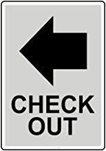 Segnale di avvertimento con scritta in lingua inglese'Check Out' e'Private Property' (lingua italiana non garantita), in metallo, decorazione per la casa, 20,3 x 30,5 cm