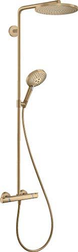 hansgrohe wassersparendes Duschsystem Raindance Select S 240 PowderRain Regendusche (Duschkopf, Duschkopf, Duschstange, Thermostat, Schlauch, 3 Strahlarten) Brushed Bronze