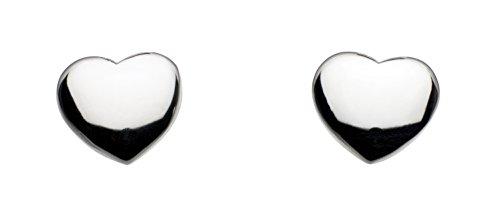Dew Women's Sterling Silver Solid Heart Stud Earrings