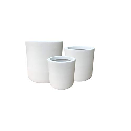 Kante RC0119ABC-C80011 Set of 3 Lightweight Concrete Modern Cylinder Outdoor Planters, 15.8, 12.9 and 9.8 Inch Diameter, Pure White