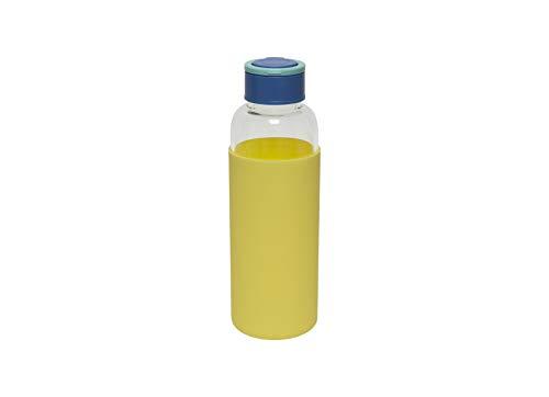 Fisura   Botella de Agua de Cristal con Funda de Silicona Eco-Friendly Reutilizable 480 ml. Apta para niños. 20,5 x 6 cm. (Amarillo)