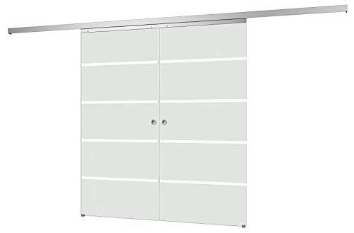 inova Doppel Glas-Schiebetür 2-Flügelig 1760 x 2035 mm Blockstreifen Alu Komplettset mit Lauf-Schiene und Griffmuschel