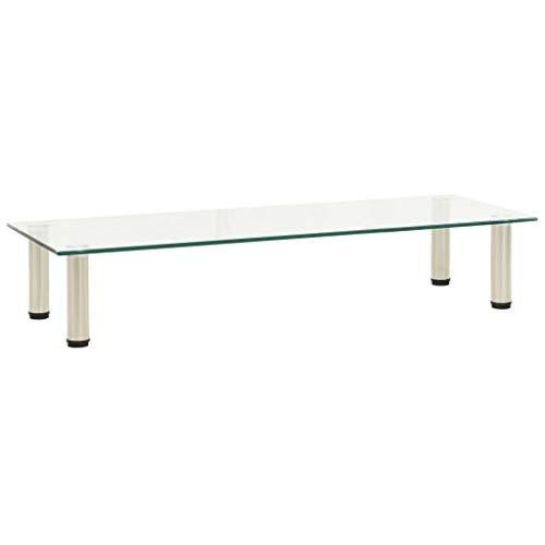 vidaXL TV Tisch Schrank Monitor Glasaufsatz Aufsatz Monitorerhöhung Fernseh Podest Monitoraufsatz Erhöhung Transparent 100x35x17cm Hartglas