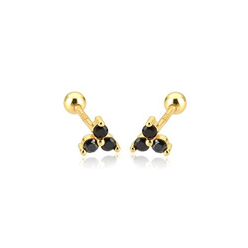 Plata de ley 925 Pendientes de plata Tres circonitas Charoques Clips de perlas Mini colgante Joya pequeña para mujer Regalo-Oro Negro
