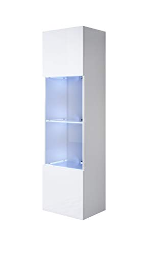 muebles bonitos Vitrina Luke V6 (40x165cm) Color Blanco