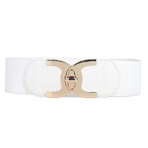 Zonster Cinturón De Cuero De La PU De La Cintura Ajustable Cadena Pretina De La Hebilla Correa Ancha con Banda Elástica para Los Accesorios De Vestir De Mujeres Blanca