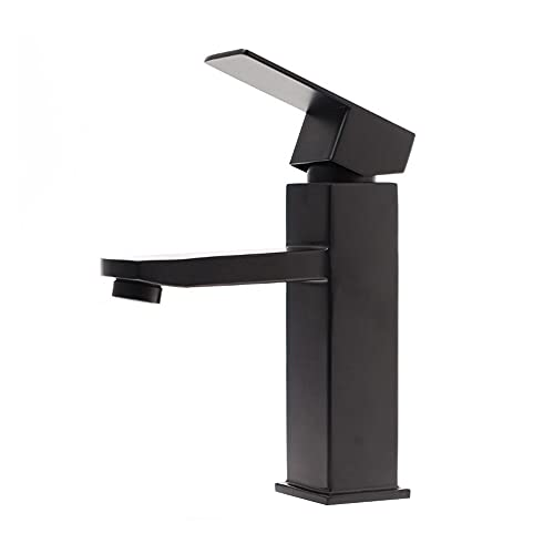 VVW&LIU Grifo Mezclador de baño Grifo de Lavabo Negro Grifo de Lavado de Lavabo de baño de Acero Inoxidable 304 Grifo de una manija única fría de Moda, H