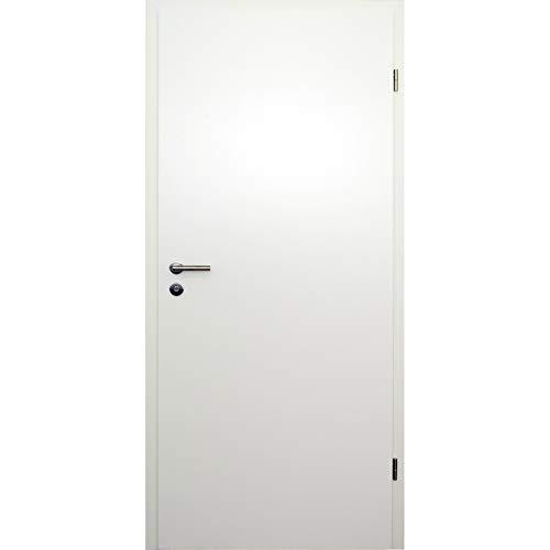 HORI® Zimmertür Komplettset mit Zarge und Türdrücker I Innentür CPL Weiß I Größen und BB- oder WC-Schloss wählbar I 1985 x 985 x 120 mm I DIN rechts