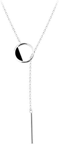 Buena suerte 925 plata esterlina negro redondo hueco borla collar femenino temperamento simple suéter cadena moda joyería hecha a mano