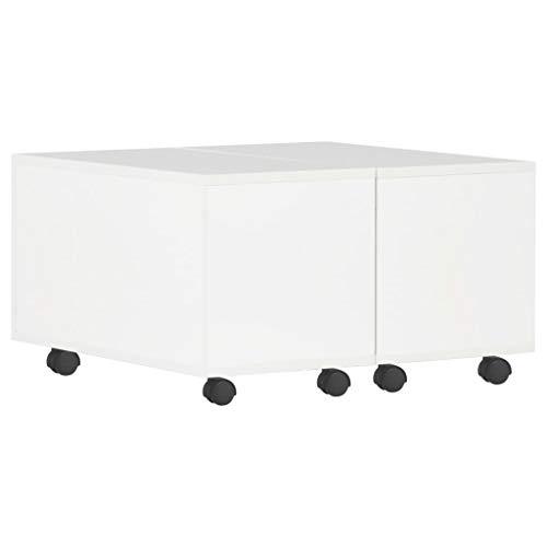 vidaXL Couchtisch Ausziehbar mit Stauraum Wohnzimmertisch Beistelltisch Kaffeetisch Sofatisch Tisch Hochglanz-Weiß 60x60x35cm Spanplatte