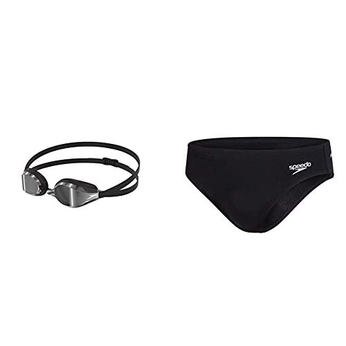 Speedo Fastskin Speedsocket 2 MIR Au Occhialini da Nuoto Unisex, Adulto & Men's Essential Endurance+ Slip da Nuoto 7 Cm da Uomo, Nero, 34 (It 48)