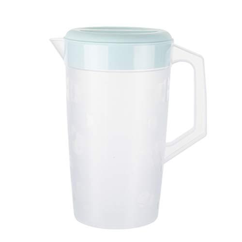 Hemoton Wasserkrug Saftkrug con escala 2000 ml Kühlschrankkrug plástico jarra Saft Krug con tapa Wasserkaraffe Wasserkanne para Frigorífico Eistee bebidas té café leche Cocktail
