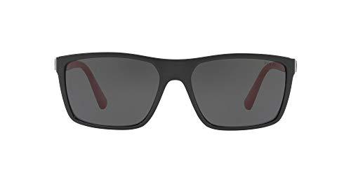 Polo Ralph Lauren PH4133 anteojos de sol rectangulares para hombre, negro brillante/gris , 59 mm
