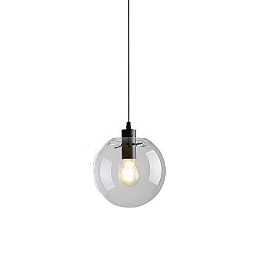 Lampe industrielle globe de verre Transparent/noir Abat-jour Suspension Lampe de cuisine suspendue style moderne 1 ampoule E27 - 20 cm de diamètre, 20 cm